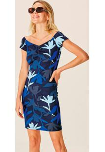 Vestido Azul Ciganinha Floral