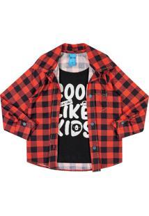 Camisa Com Sobreposição Bito Em Meia Malha Outono Inverno Vermelho Escuro - Kanui