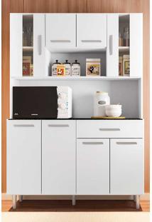 Cozinha Compacta Com Tampo 8 Portas Gabi - Poliman - Branco