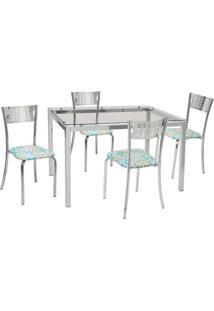 Conjunto De Mesa Com 4 Cadeiras Rafaela Corino Cromado