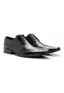Sapato Masculino De Amarrar Solado Em Couro Preto