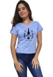 Camiseta Feminina Gola V Cellos Drink Premium Azul Claro