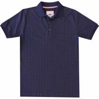 f5d319d5ef Camisa Pau A Pique Polo Estampada Azul Marinho