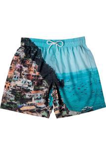 Bermuda Lisa Masculino Estampado Fps 30 Moda Praia Mash