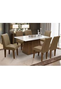 Conjunto De Mesa Para Sala De Jantar Com 6 Cadeira Florença Fit - Dobue - Castanho / Branco Off / Castor
