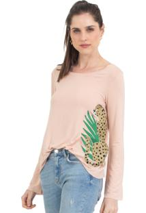 Camiseta 41Onze Plant Cheetah Rosa