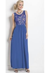 Vestido Longo Transparência Costas Azul