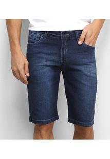 Bermuda Jeans Aleatory Elastano Masculina - Masculino-Azul Escuro