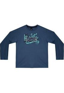 Camiseta Manga Longa Infantil Fatal Strip Masculina - Masculino-Azul