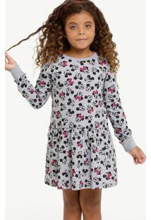 Vestido Infantil Moletinho Minnie Manga Longa Disney