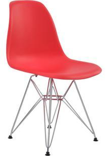 Cadeira Eiffel Vermelha Com Base Cromada