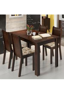 Conjunto Sala De Jantar Rosie Madesa Mesa Tampo De Madeira Com 4 Cadeiras