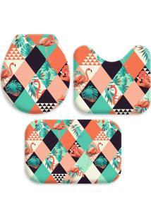 Jogo Tapate Love Decors Para Banheiro Flamingos Geométricos Multicolorido Único