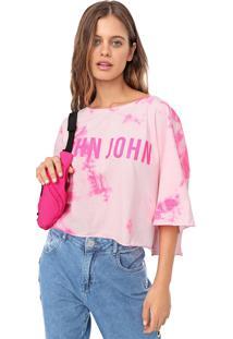Camiseta Cropped John John Neon Stain Tie Dye Rosa