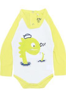 Body Tip Top Menino Frontal Amarelo
