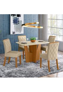 Conjunto De Mesa Com 4 Cadeiras Croácia-Henn - Nature / Off White / Linho