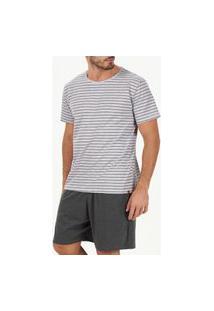 Pijama Masculino Curto Cor Com Amor 30081 Cinza
