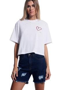 Camiseta John John Love Malha Off White Feminina (Off White, Gg)