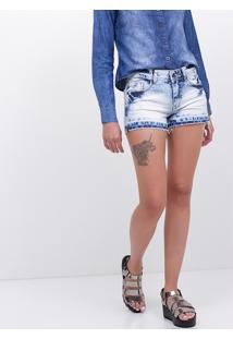 Short Jeans Com Barra Desfiadinha