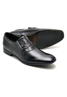 Sapato Social Reta Oposta Masculino Couro Confort Preto