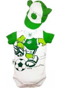 Body Reve D'Or Sport Porquinho Com Boné Palmeiras Branco E Verde - Kanui