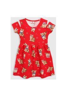 Vestido Brandili Infantil Gatinho Vermelho