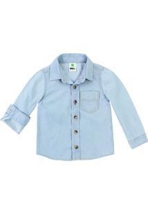 Camisa Jeans Infantil Bebê Menino Manga Longa
