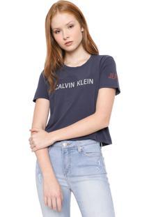 Camiseta Cropped Calvin Klein Jeans Logo Grafite