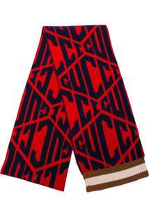 Gucci Cachecol Estampado Com Logo - Vermelho