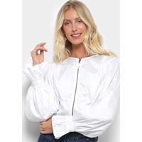 5449c4a98 Camisa Morena Rosa Cropped Manga Longa Balonê Zíper Frontal Feminina -  Feminino-Off White