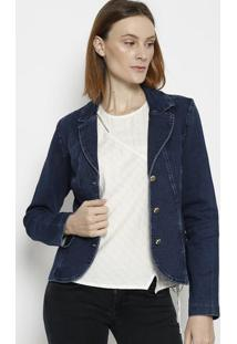 Blazer Jeans Com Botãµes- Azul Escuro- ÊNfaseãŠNfase