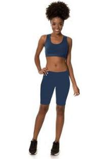 Bermuda Rovitex Ciclista Premium - Feminino-Azul