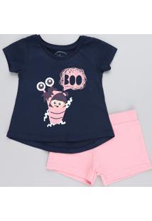 Conjunto Infantil Boo Monstros S.A. De Blusa Manga Curta Azul Marinho + Short Em Moletom Rosa