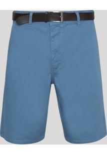 Bermuda Masculina Reta Com Bolsos E Cinto Azul Escuro