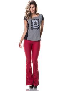 Calça Gisele Freitas Modeladora Flare Vermelha