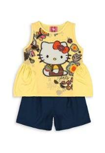 Conjunto Bebê Hello Kitty Feminina - Feminino-Amarelo
