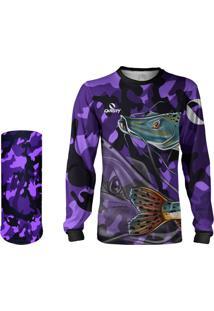 Camisa Pesca + Máscara Quisty Pintado Moleque Camuflado + Proteção 50 Uv - Roxo Infantil/Adulto - Camiseta De Pesca Quisty