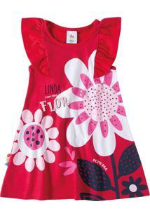 Vestido Estampado Flor Menina Zig Zig Zaa Vermelho - 2