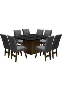 Conjunto De Mesa Para Sala De Jantar Com 8 Cadeiras Esparta-Dobue - Castanho / Preto / Grafite