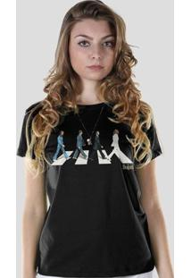 Camiseta Bandup! The Beatles Abbey Road - Feminino-Preto