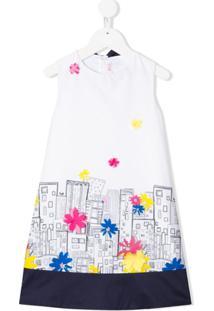 Il Gufo Vestido Sem Mangas Com Estampa Abstrata - Branco