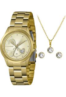 Kit Relógio Analógico Lince Feminino + Colar Com Brincos - Lrgj107L Kx77C1Kx Dourado