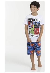 Pijama Infantil Estampa Heróis Manga Curta Liga Da Justiça
