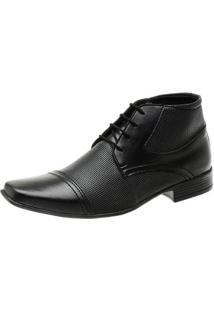Sapato Social Masculino Cano Médio Fechamento Cadarço - Masculino-Preto
