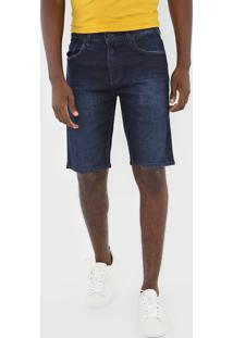 Bermuda Jeans Calvin Klein Jeans Reta Estonada Azul-Marinho