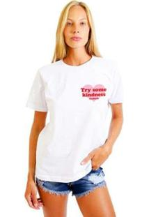 Camiseta Joss Estampada Logo Try Some Kindness Feminina - Feminino-Branco