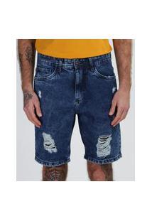Bermuda Jeans Masculina Slim Marmorizada Destroyed Com Bolsos Azul Escuro