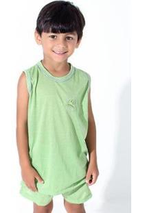 Pijama De Malha Infantil Linha Noite Regata Masculino - Masculino-Verde