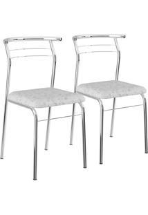 Conjunto 2 Cadeiras Tecil Fantasia Branco Cromado 1708 Carraro Móveis