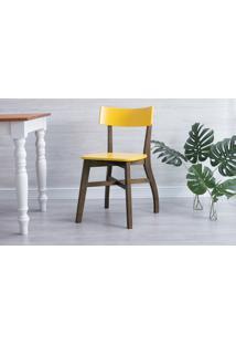 Cadeira De Madeira Para Restaurante Bella - Capuccino E Amarelo 44X51X82 Cm